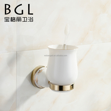 Fresh design Zinc alloy and Ceramic bathroom accessories Wall mounted Gold finishing Single tumbler holder-11738