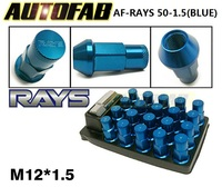 AUTOFAB - Blue JDM 20PCS/Set 50mm R*YS Anti Theft Racing Wheel Lug Nuts M12*1.5 Forged 7075 Aluminum AF-RAYS 50-1.5 (Blue)