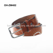 Casual men leather embroidery belt