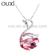 OUXI hot sale rhinstone jewelry swan necklaces made with Swarovski Elements 10607