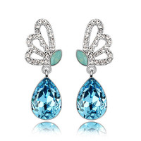 Wholesale austrian crystal earring with 4 Kind Color earrings hypoallergenic of silver earring
