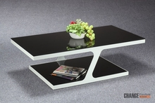 Z S Shape Glass Coffee Table