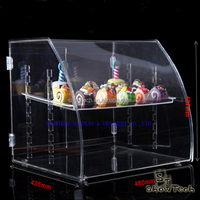 Durable and secure 3 tier acrylic display case food bin bread bakery case ST-CRVBT1814-01