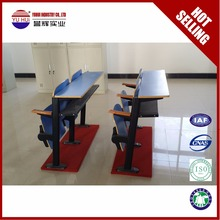 Modern School Furniture double school desk and chair fixed seating double combo chair for college