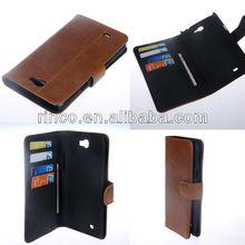 Brown Leather Card Stand Flip Wallet Case for Samsung Galaxy Note 2 N7100