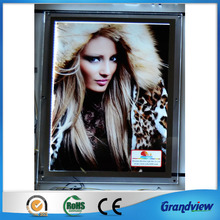 Wall mounted LED advertising clear edge picture frame