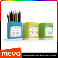 Desktop Orangainzer Pen Stand Calendar,Cheap Colors Pen Holder with 2016 Calendar