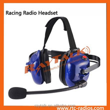 Behind-the-head 2-way communication headset with Red PTT switch