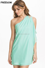 Women Fashion Asymmetric Drape One Shoulder Cocktail Dress