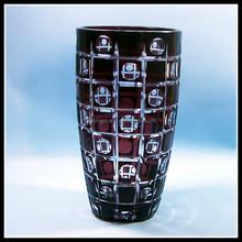 Hand cut purple home decor glass vase