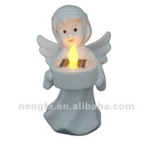 Lovely Ceramics Angel Shaped Solar Tea Light Candle for Christmas Decoration