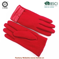 Wholesale 2015 fashion Ladies Cheap Winter Wool Gloves decorated with buttons warm red wool gloves for ladies