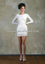 new arrival sexy boat neck knee length taffeta keyhole coverlet TM356 tea length wedding dresses long sleeves