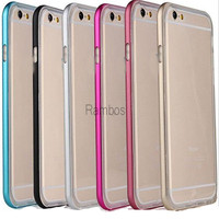 6 Plus Aluminum Metal Bumper with Clear TPU Phone Case Cover Hybrid Funda for iphone 4 / 4s / 5 / 5s /6 for Samsung Galaxy S6/