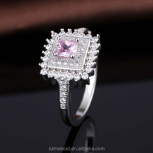 Pink Color Square Shape Designs for Girl New Model Value 925 Silver Ring