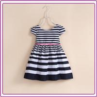 New design kid cotton girls dresses small children skirt black strip girl casual dress
