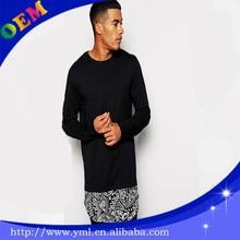 Super Long Black Long Sleeve T Shirt With Paisley Extended Hem