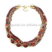 позолоченные ручной работы многослойные плетеные шнуры и цепь ясно акриловых шариков ожерелья