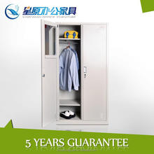 China top quality portable 2door cheap storage steel wardrobe cabinet with hanger
