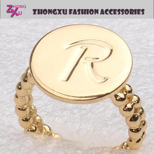 new custom fashion and popular womens gold plated promotion letter R finger ring