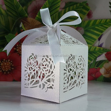 White Rose Flower Laser Cut pearl paper wedding candy box chocolate favour box baby shower gift box christmas new born gift