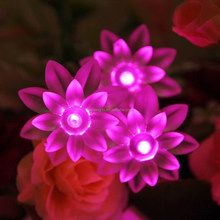 2016 New Product custom led christmas holiday party wedding outdoor indoor bettery solar lotus plastic flower fairy string light