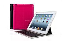 Automatic baklit keys keyboard folio case for iPad234 aluminum bottom