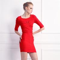 half sleeve red ruffles korean style tight wedding dress
