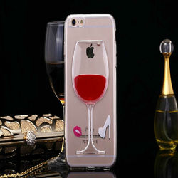 Moving Liquid Beer 3D Red Wine Cup Case For iPhone 6, Vodka Alcohol Bottle Cocktail Transparent TPU Case For iPhone 6/ 6 Plus