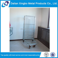 warehouse Collapsible galvanized metal storage cage with wheels
