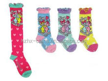 cotton young girl fuzzy knee high custome design cartoon tube young girl socks from china socks factory