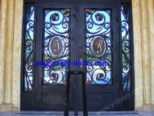 New letter wrought iron double door design with kick plate steel front main entry door
