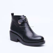 2015 fashionable woman high heel platform ankle cool martin boots with top patent pu, hasp and buckle, different material.