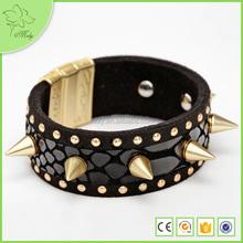 2015 Hot sale Color Rivet Suede Leather Bracelet, Newest Fashion Punk Rock Style cuff Bracelet for Men