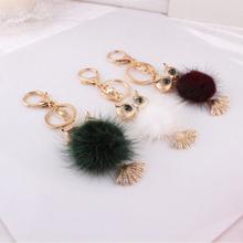 Fashion creative bags metal plush fox pendant keychain