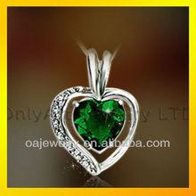 fabulous emerald heart pendant CZ 925 sterling silver charm