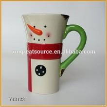 Beautiful snowman design pretty wholesale ceramic custom creative cup