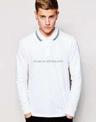 Long Sleeve Pique Spandex Fabric For Polo Shirt White Polo Tshirt Stripe Collar Mens Polo T-Shirt