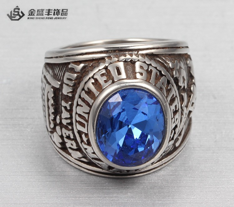 2015 Fashion Classic Designs Class Rings With Blue Stone Custom College Class