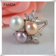 Fashion natural freshwater pearl rings/ cheap pearl ring wholesale