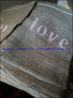 Drawstring burlap bag with hand painted pink 'love'