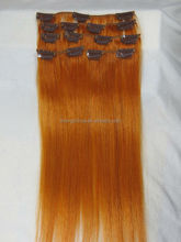 2014 new products 100% human hair extension silk straight orange color Hair Extension
