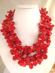 Amazing beautiful red coral Handmade flower necklace for 2015 fashion party!