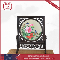Business Gift Use Chinese Shu Embroidery Table Decor Wooden Handicraft