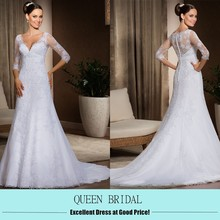 AZ-07 Latest Custom A-line alibaba 3/4 sleeve white wedding dress long tail