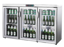 bar equipment made-in-China static cooling 3 door glass showcase counter top stainless steel mini display fridge