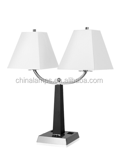 double table lamp with 2 socket and 2 power outlet 2 usb port on base. Black Bedroom Furniture Sets. Home Design Ideas