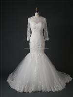 G5821B Real sample High Neck Long Sleeve Sheer Lace Ivory Mermaid Wedding Dress 2015 with Keyhole Lace up Back