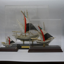 Noble Customized Made metal Arab flag Diamond ship model and dhow For National Day gift