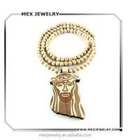 Large Wooden Jesus Face Piece Pendant Bead Chain Necklace